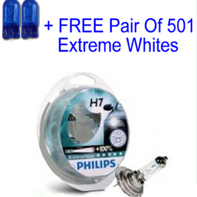 philips x treme vision 100 h7 12v 55w car bulbs with same day despatch free 501 extreme. Black Bedroom Furniture Sets. Home Design Ideas