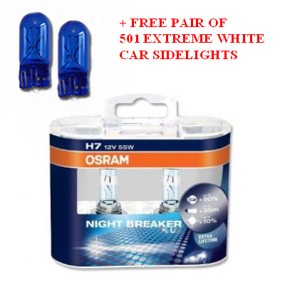 CURRENTLY OUT OF STOCK NEW Osram Night Breaker Plus Car Bulbs are high-performance filament bulbs for maximum visibility and driving comfort. Up to 90% more light on the road ahead & up to 10% whiter light. NOW 50% extra lifetime. Like no other automotive